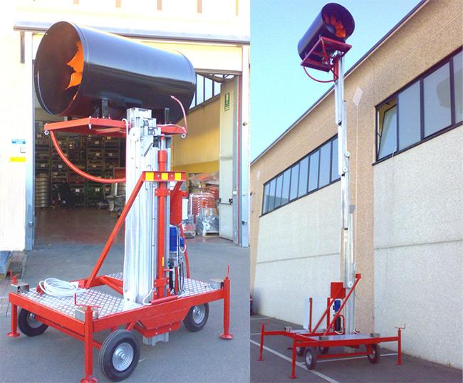 Ventilatore diametro 900mm, con motore elettrico 15KW - 4 poli - B3. Posto su elevatore idraulico, altezza di sollevamento 8mt. Utilizzato come soffiante per evacuazione fumi (antincendio).